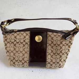 COACH PURSE - Brown Signature Logo Fabric, small